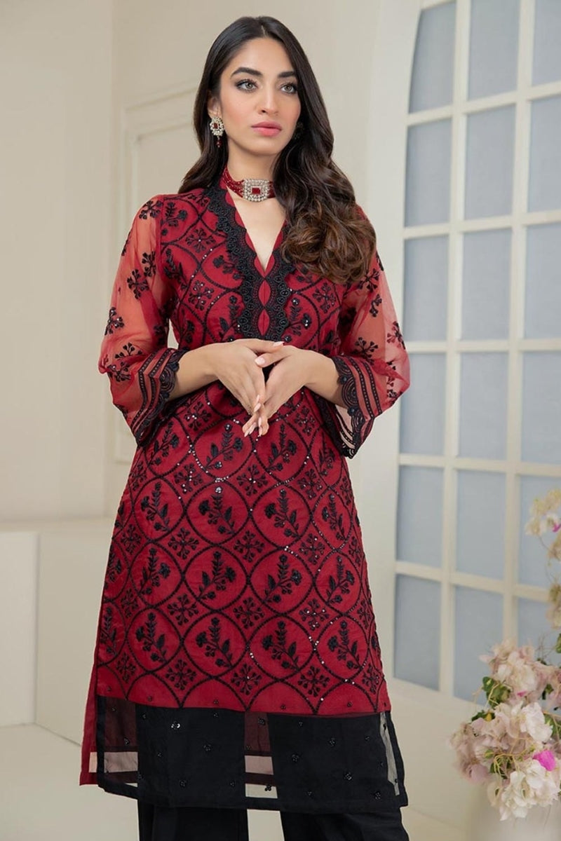 Female choice FCC-215  Red Lawn Embroidered Two piece