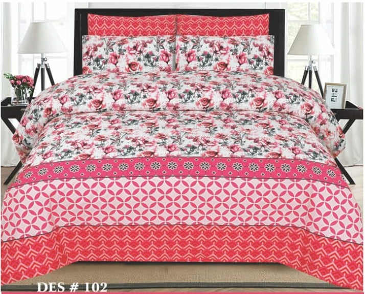 Tana Bana D 102 Pure Cotton King size Bedsheet with 2 pillow Covers