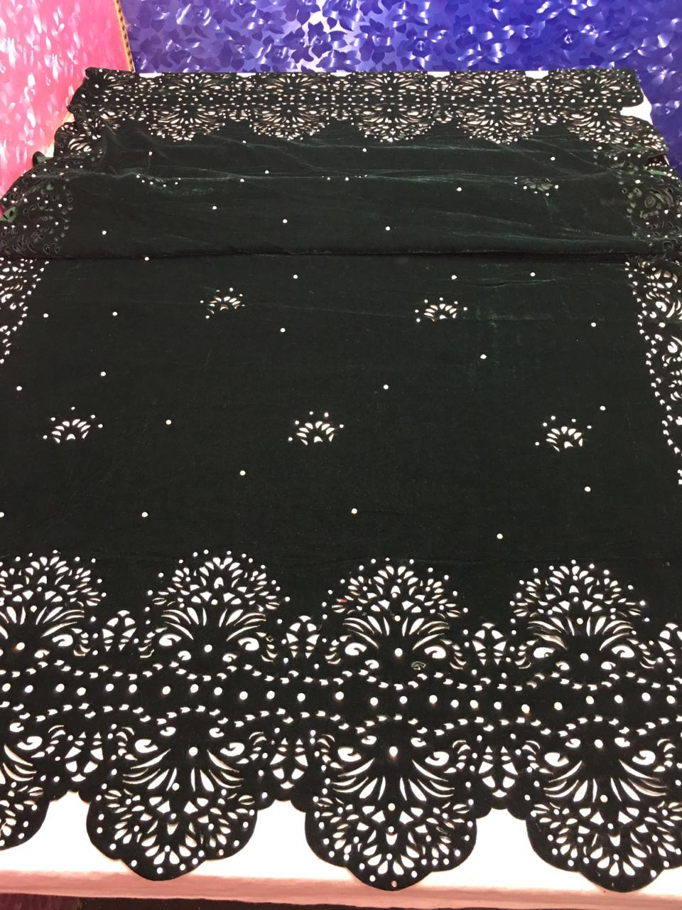 MB-1001 Green Cutwok Heavy Embroidered Velvet Shawl Winter Collection