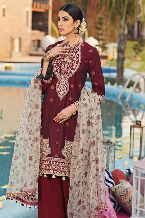Anaya AN-4038 Brown Linen three piece suit with Woolen duppata