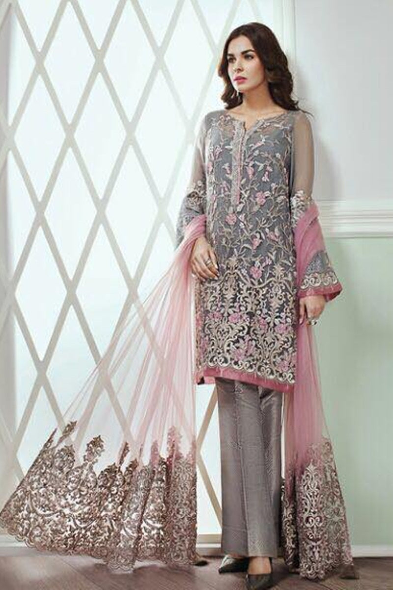 Jazmin Baroque BQR-005 Unstitched Pure Chiffon Collection Embroidered Two Piece