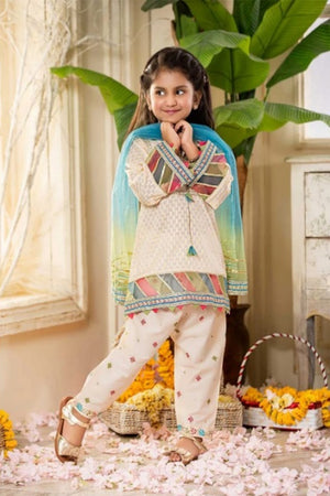 FCP-05 off white Printed Embroidered kids Wear Lawn two piece