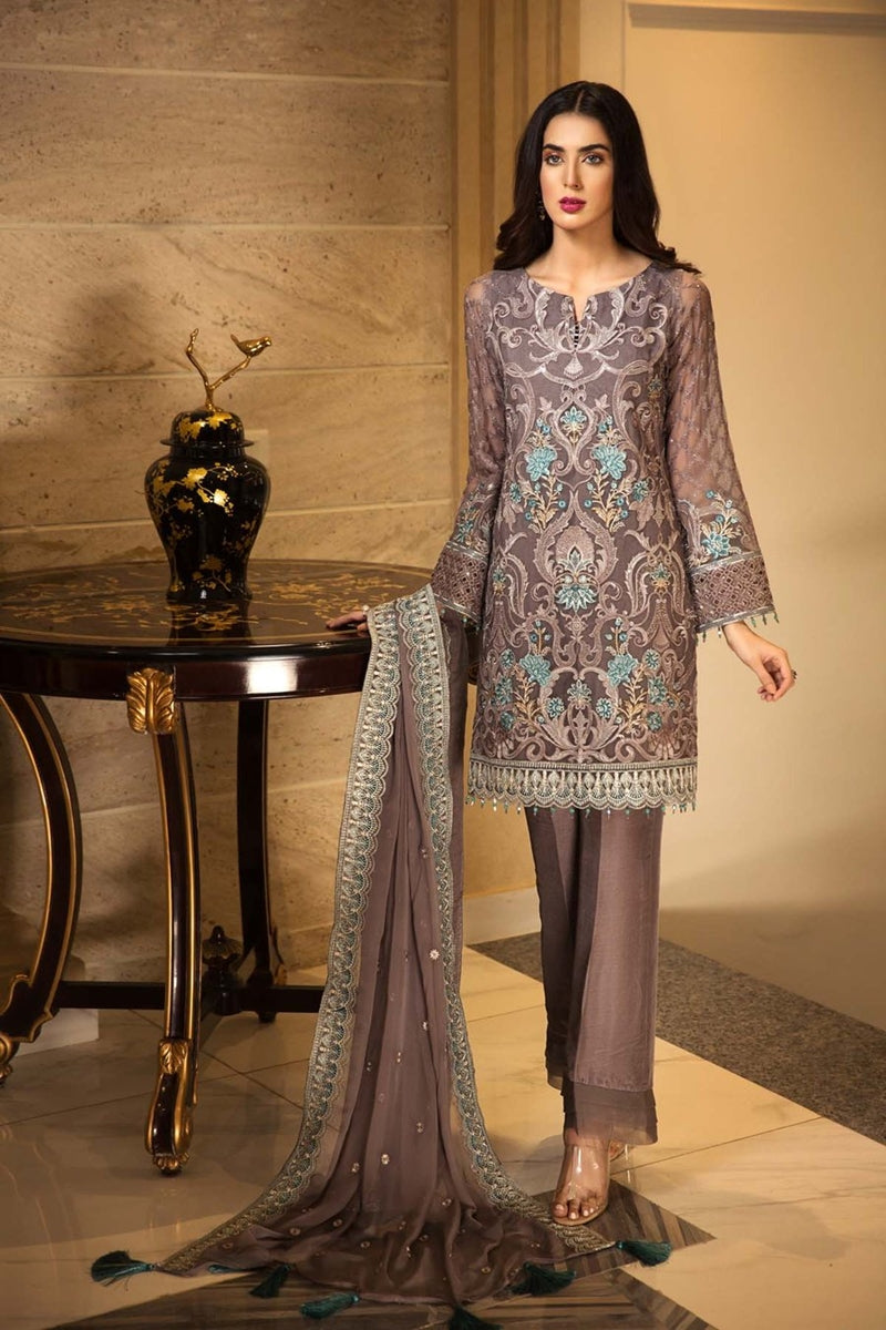 Jazmin JN-490 Unstitched Pure Chiffon Collection Embroidered Two Piece