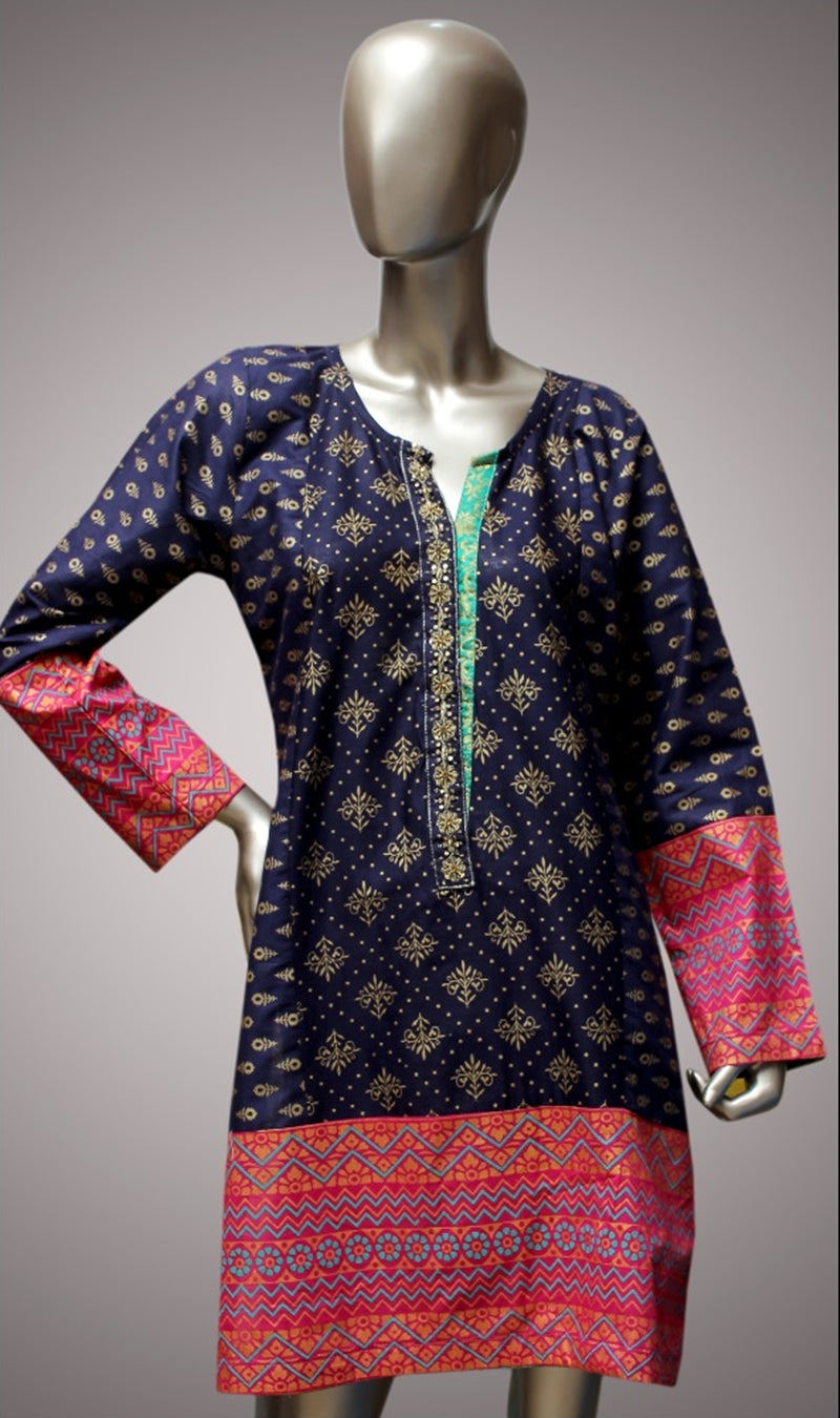 FCC-008 Blue Lawn Embroiderd Stitched Shirt