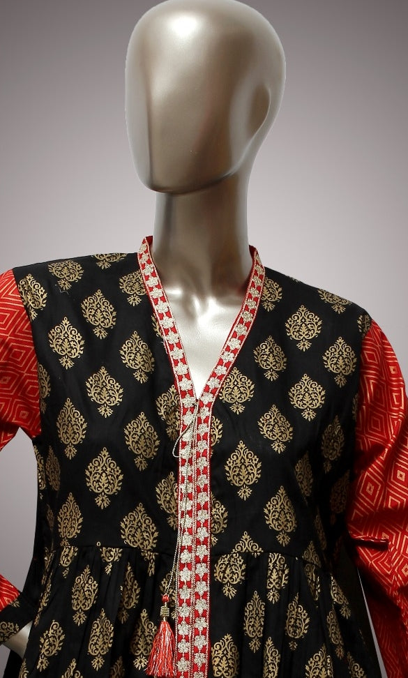 FCC-009 Black Lawn Embroiderd Stitched Shirt