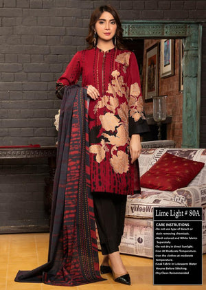 Limelight FCC 80-A Red Embroidered Three Piece Lawn  Collection