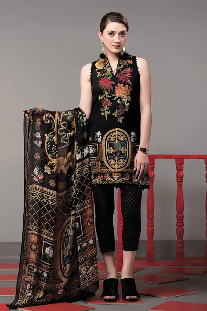 Ethnic ET-7 Black Khaddar Embroidered three piece With Woolen Shawl