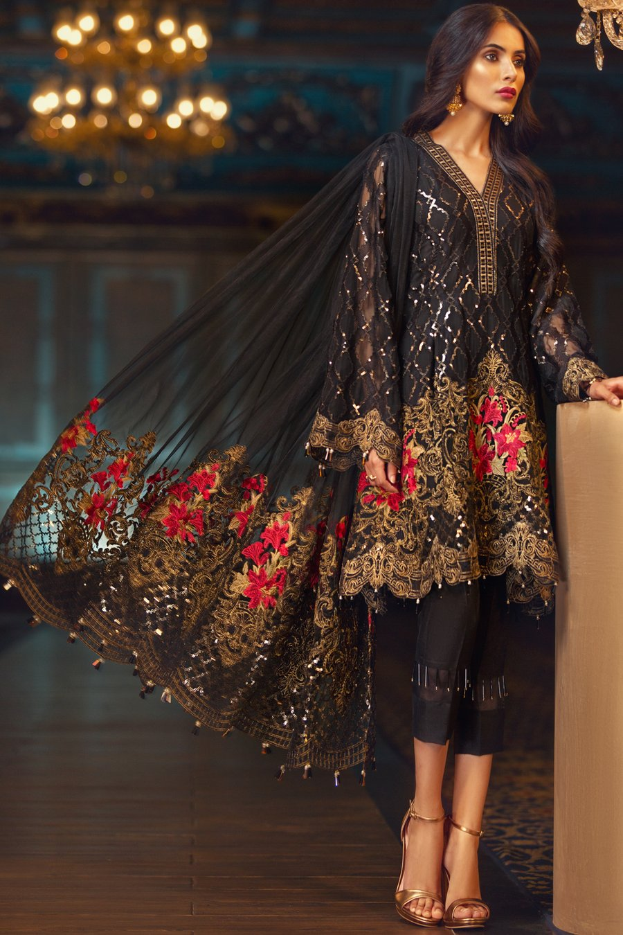 Jazmin Elam Unstitched Pure Chiffon Collection Embroidered Two Piece Shirt & Duppata
