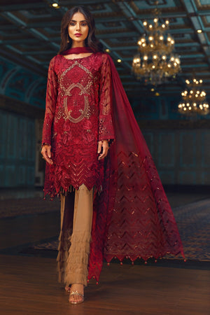 Jazmin Red Beryl Unstitched Pure Chiffon Collection Embroidered Three Piece