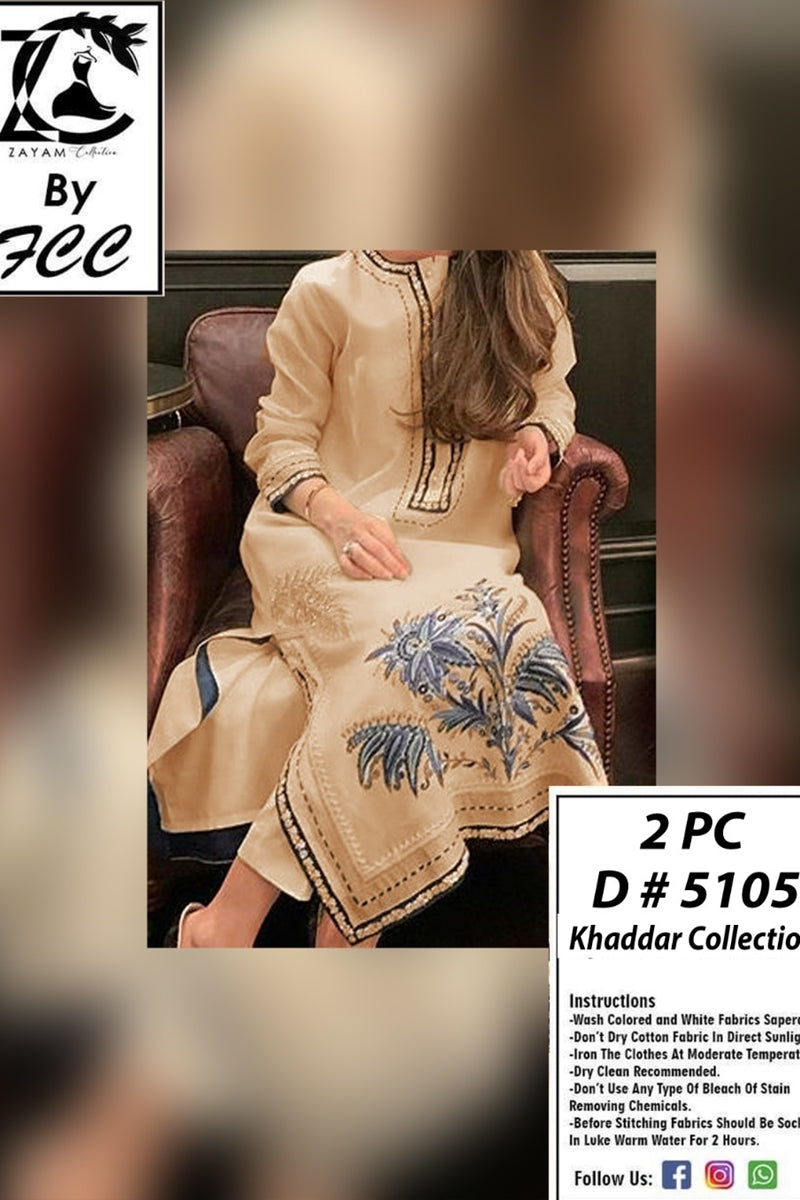 Female choice FCC-5105 Skin Embroidered khaddar two piece Winter Collection