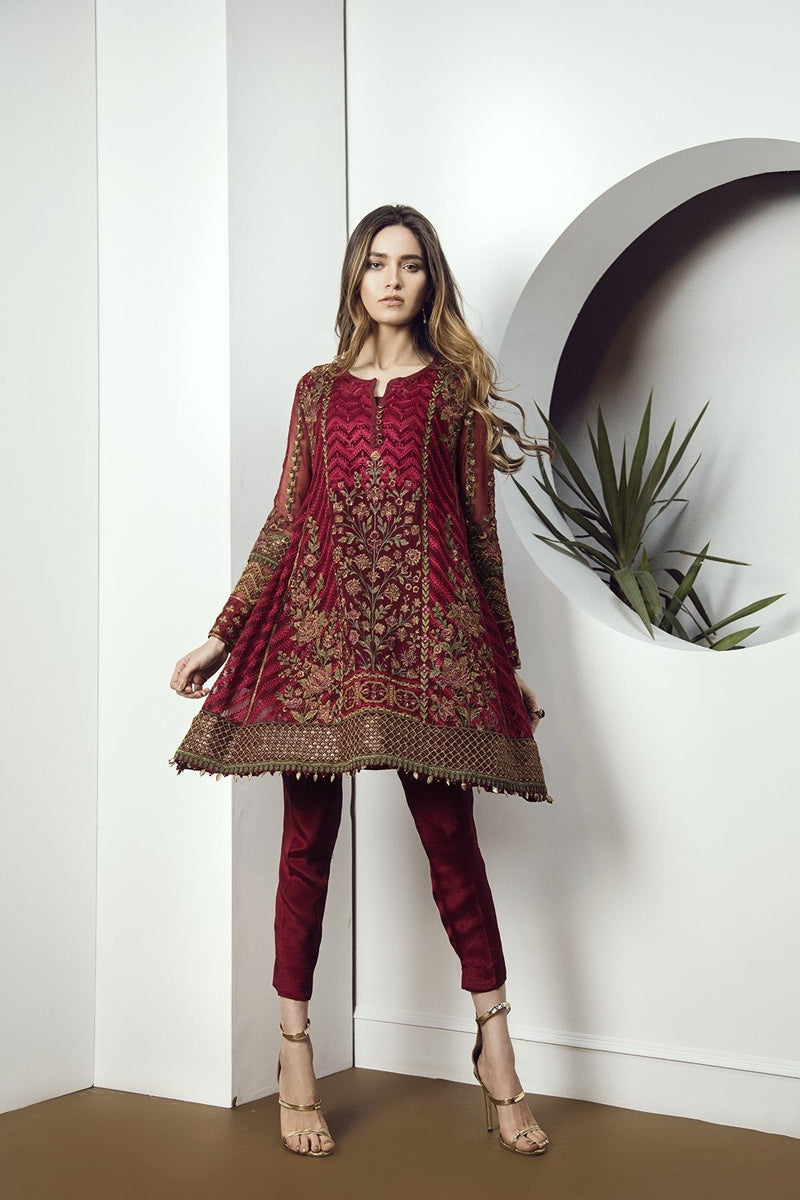 Jazmin Red Beated Unstitched Pure Chiffon Collection Embroidered Two Piece
