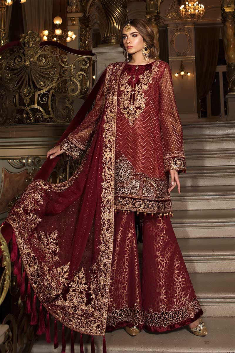 Maria B BDS-1408 Unstitched Pure Chiffon Collection Embroidered Two Piece