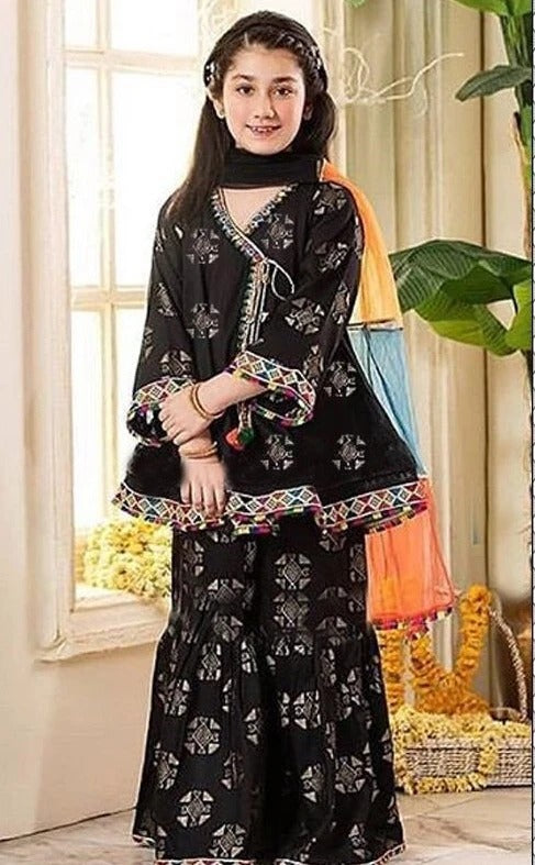 FCP-02 Black Printed_Embroidered kids Wear Lawn two piece