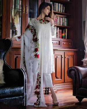 Charizma CC-01 Unstitched Chiffon Collection Embroidered ThreePiece