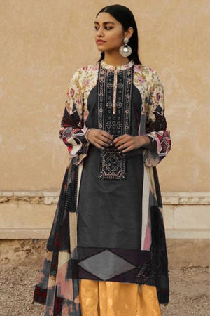 Zara Shah ZR-4028 Black Linen three piece suit with Woolen duppata
