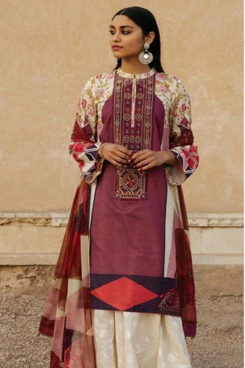 Zara Shah ZR-4028 Mehron Linen three piece suit with Woolen duppata