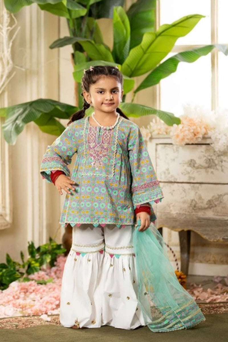 FCP-05 Printed Embroidered kids Wear Lawn two piece