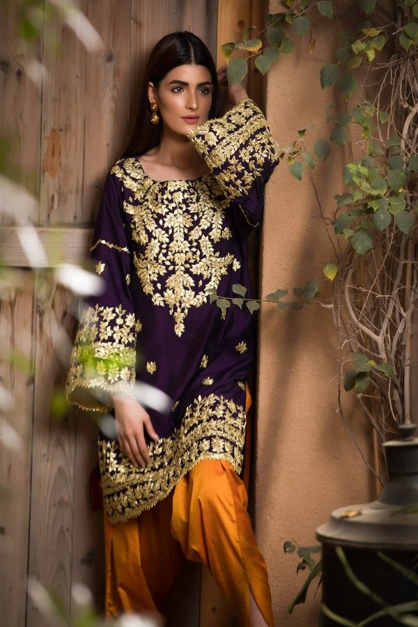 Nishat NL-5062 purple Embroidered Velvet two piece Winter Collection