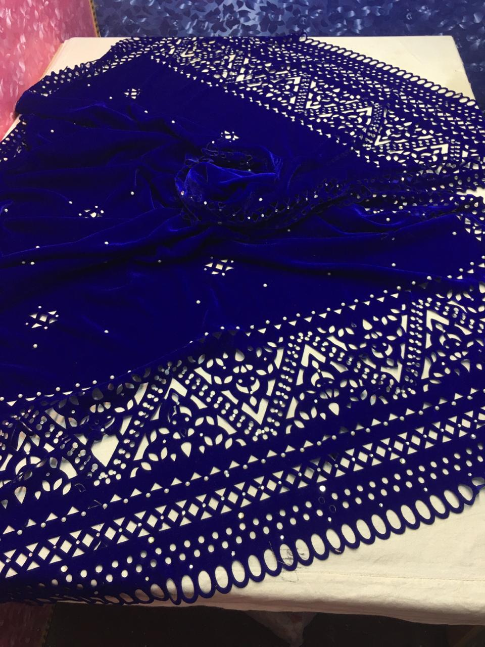 MB-1001 Blue Cutwok Heavy Embroidered Velvet Shawl Winter Collection