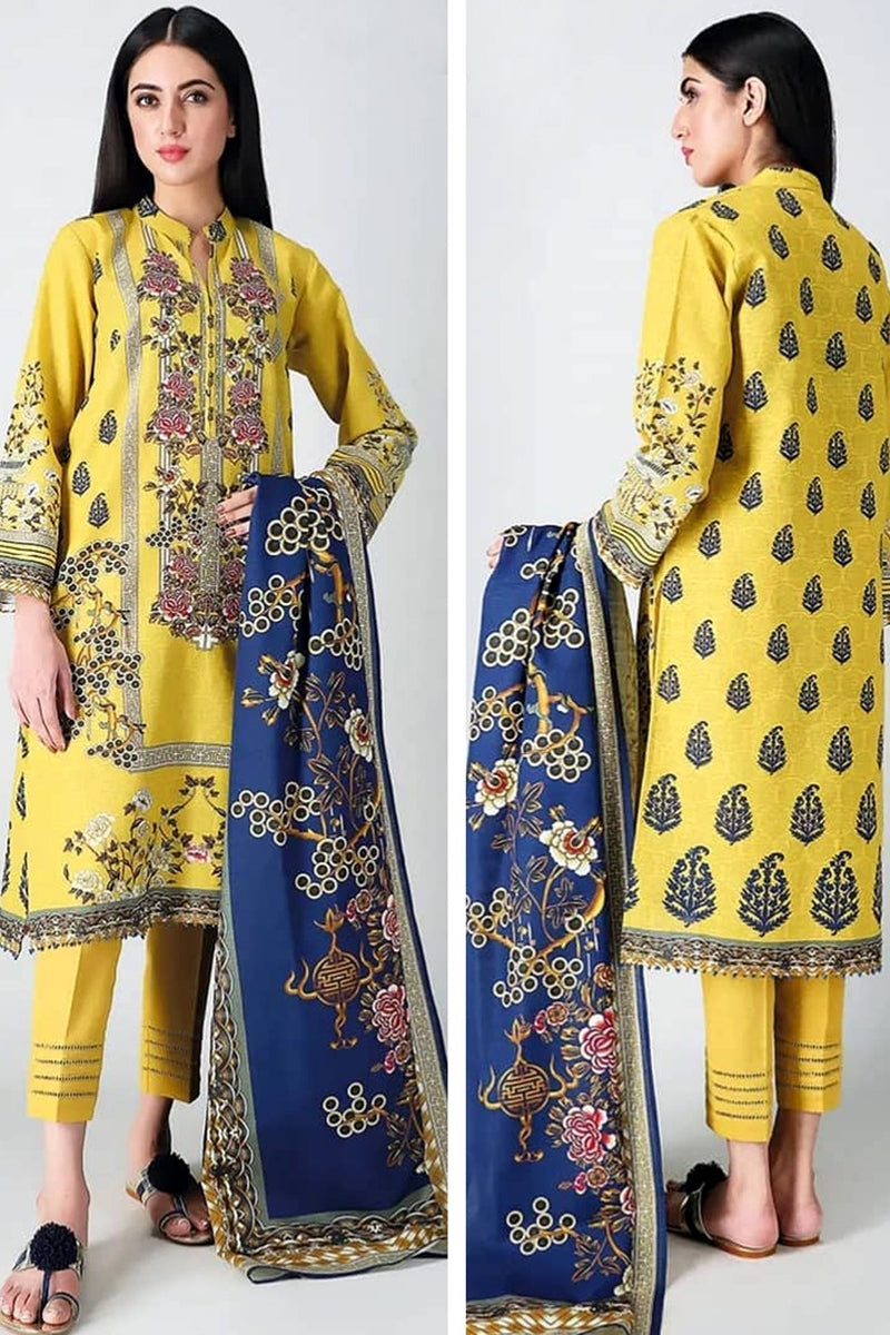 khaadi Design#01 Yellow Printed Airjet Lawn 3 pc
