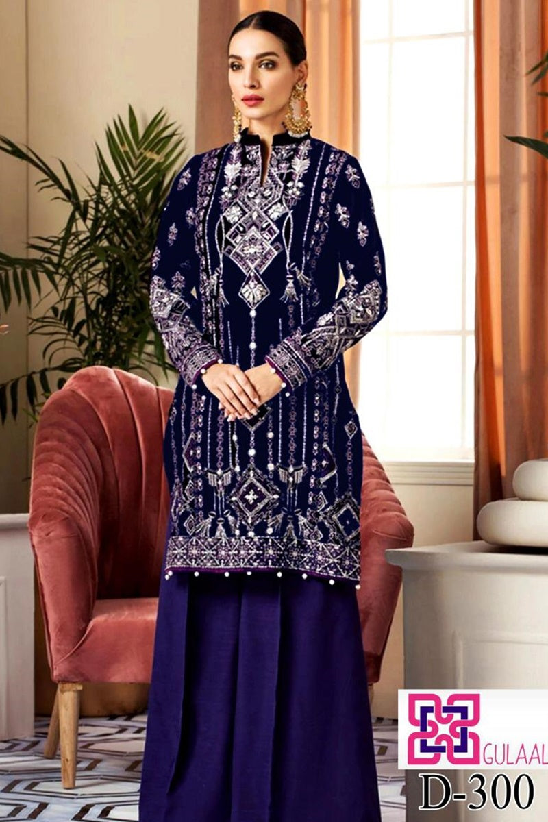 Gulaal D-300 Blue  Color Embroidered Velvet two piece Winter Collection