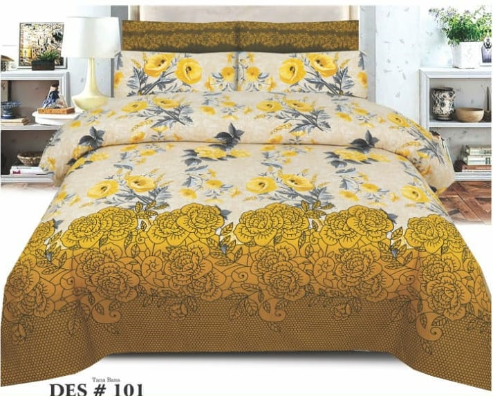 Tana Bana D 101 Pure Cotton King size Bedsheet with 2 pillow Covers