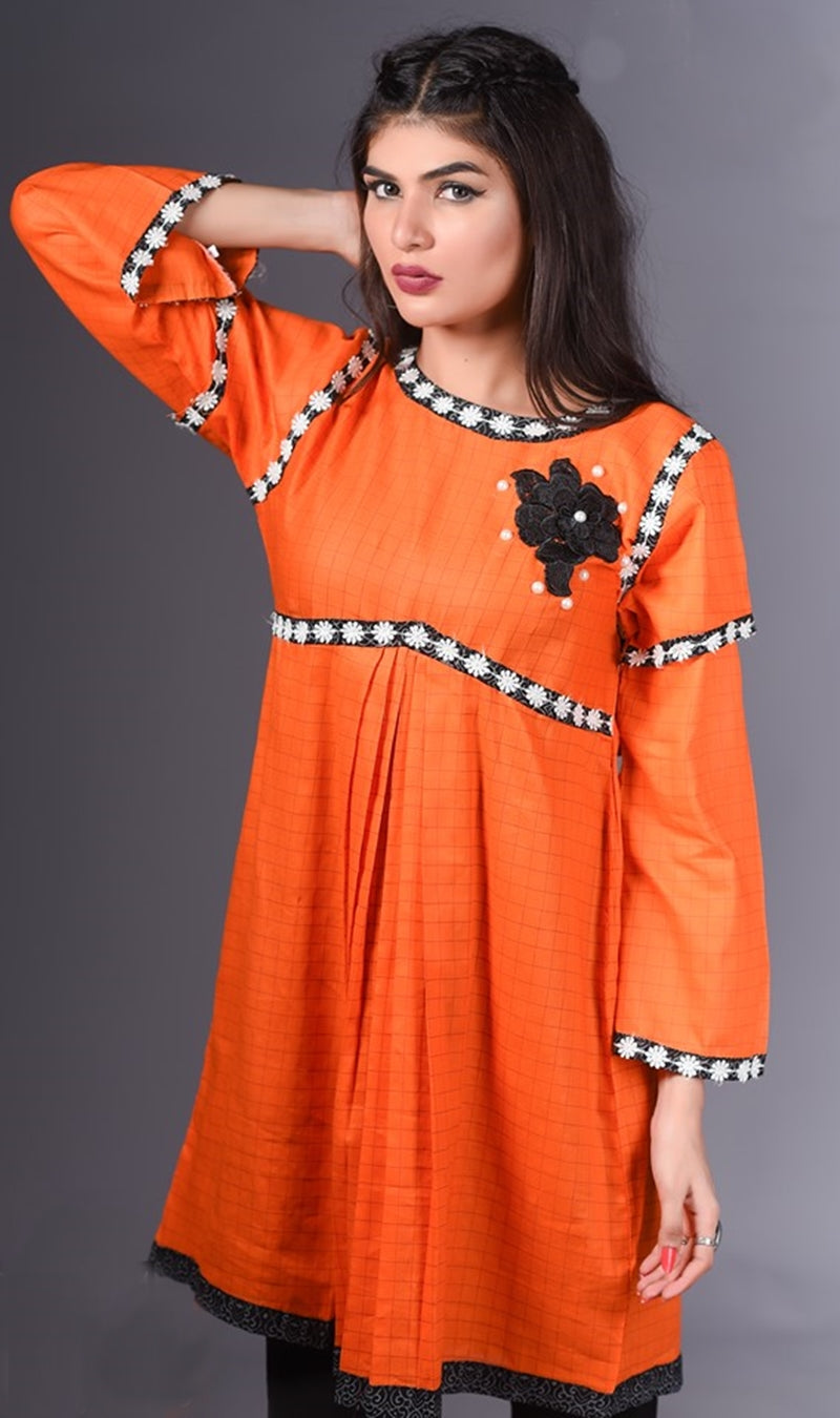 FCC-007 Orange Lawn Embroiderd Stitched Shirt