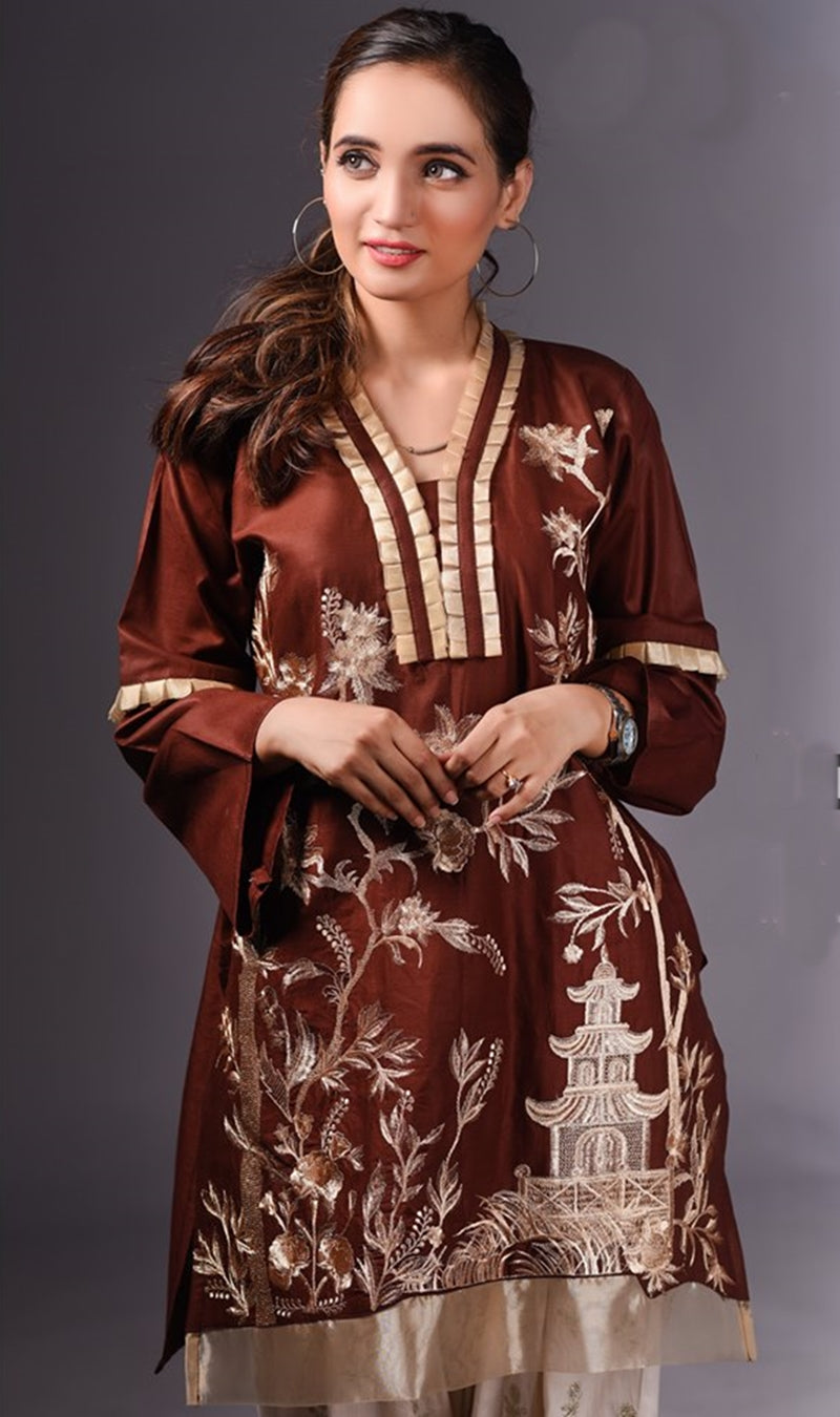 FCC-010 Brown Lawn Embroiderd Stitched Shirt