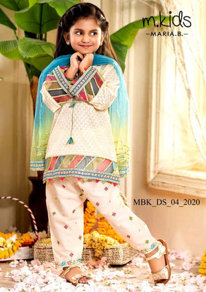 Maria B D-313 white kids Wear Lawn Embroidered two piece