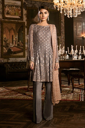 Iznik Smoked Grey (IZK 10) Unstitched Chiffon Collection Embroidered Two Piece Shirt & Duppata