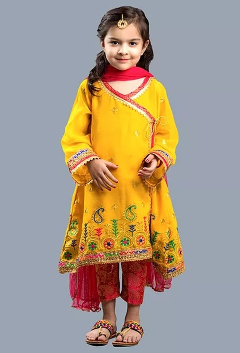 Maria B D-07 Yellow kids Wear Lawn Embroidered two piece