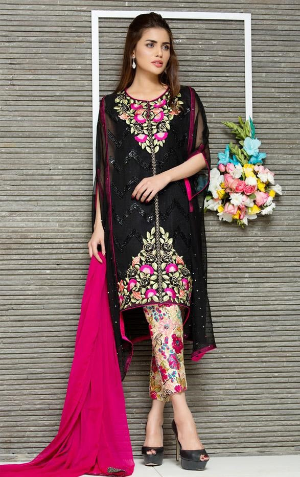 Sana safinaz D#3637 Black Embroidered Khaddar two piece Winter Collection