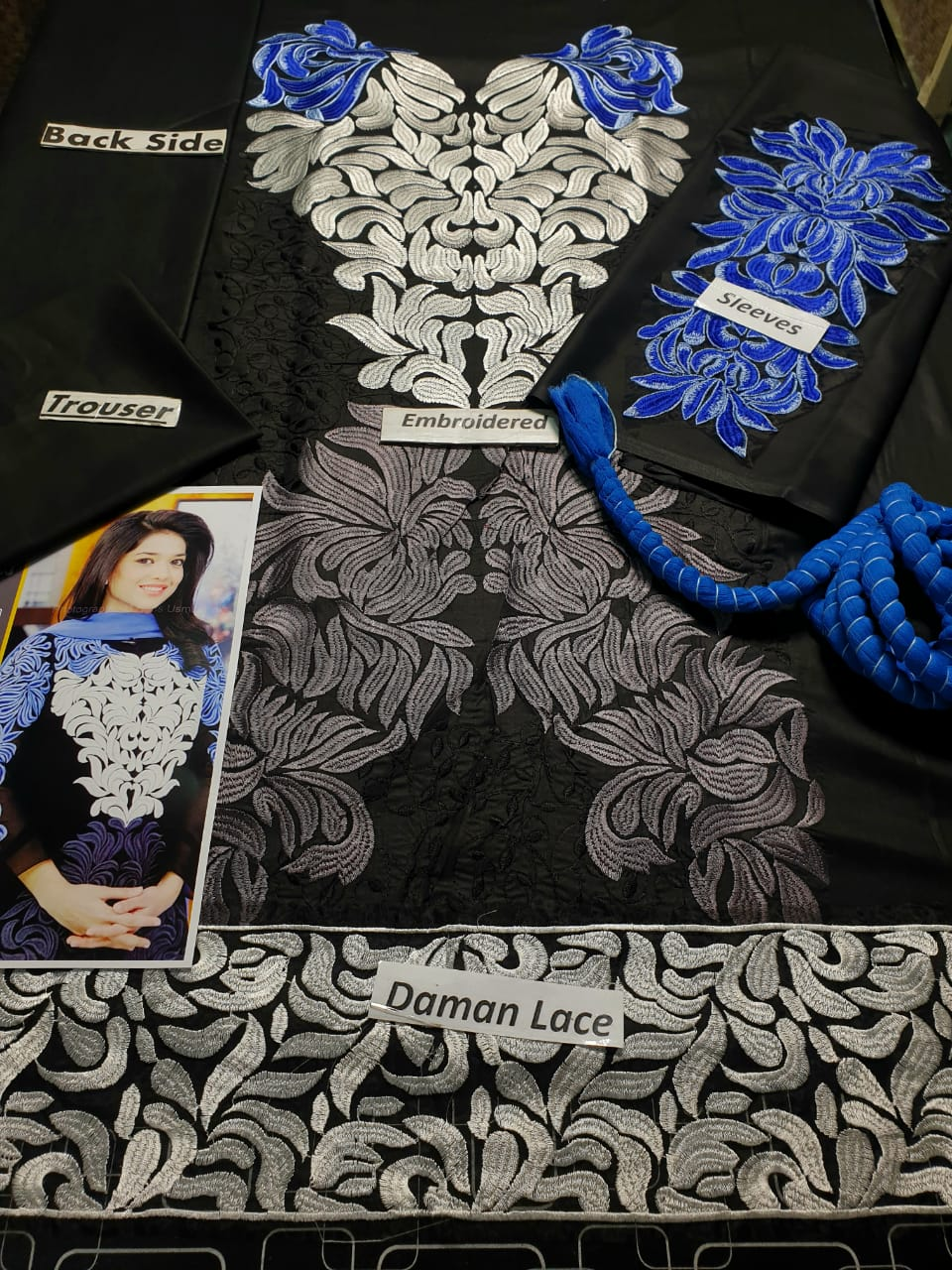 Sanam Jung SJ-50 Black Embroidered Lawn Three Piece Summer Collection