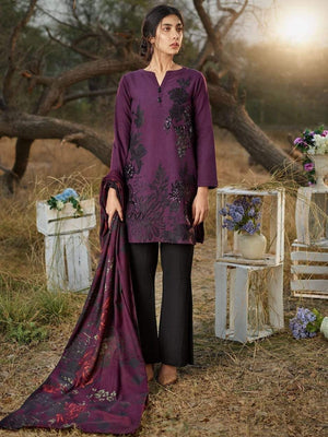 Gul ahmed GA-purple Khaddar Embroidered Two piece