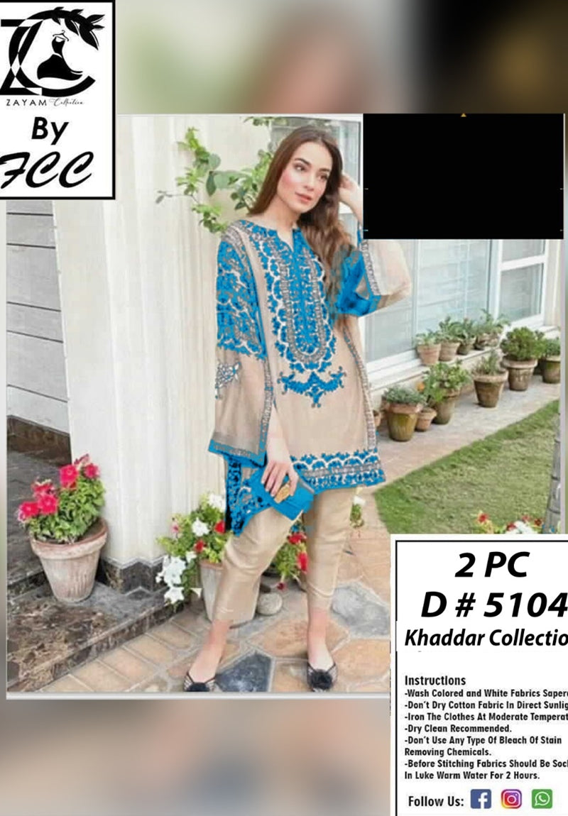 Female choice FCC-5104 Skin Embroidered khaddar two piece Winter Collection