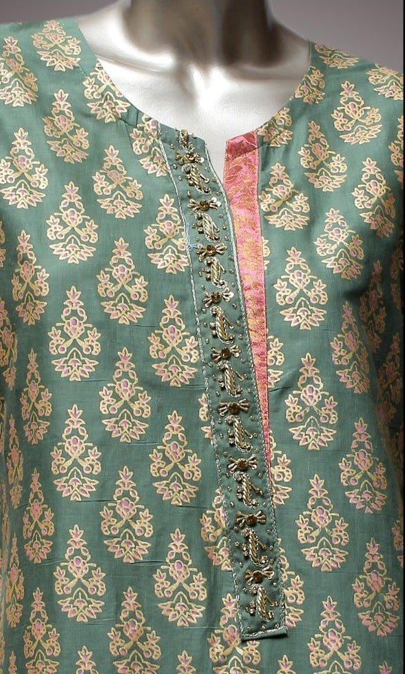 FCC-003 Green Lawn Embroiderd Stitched Shirt