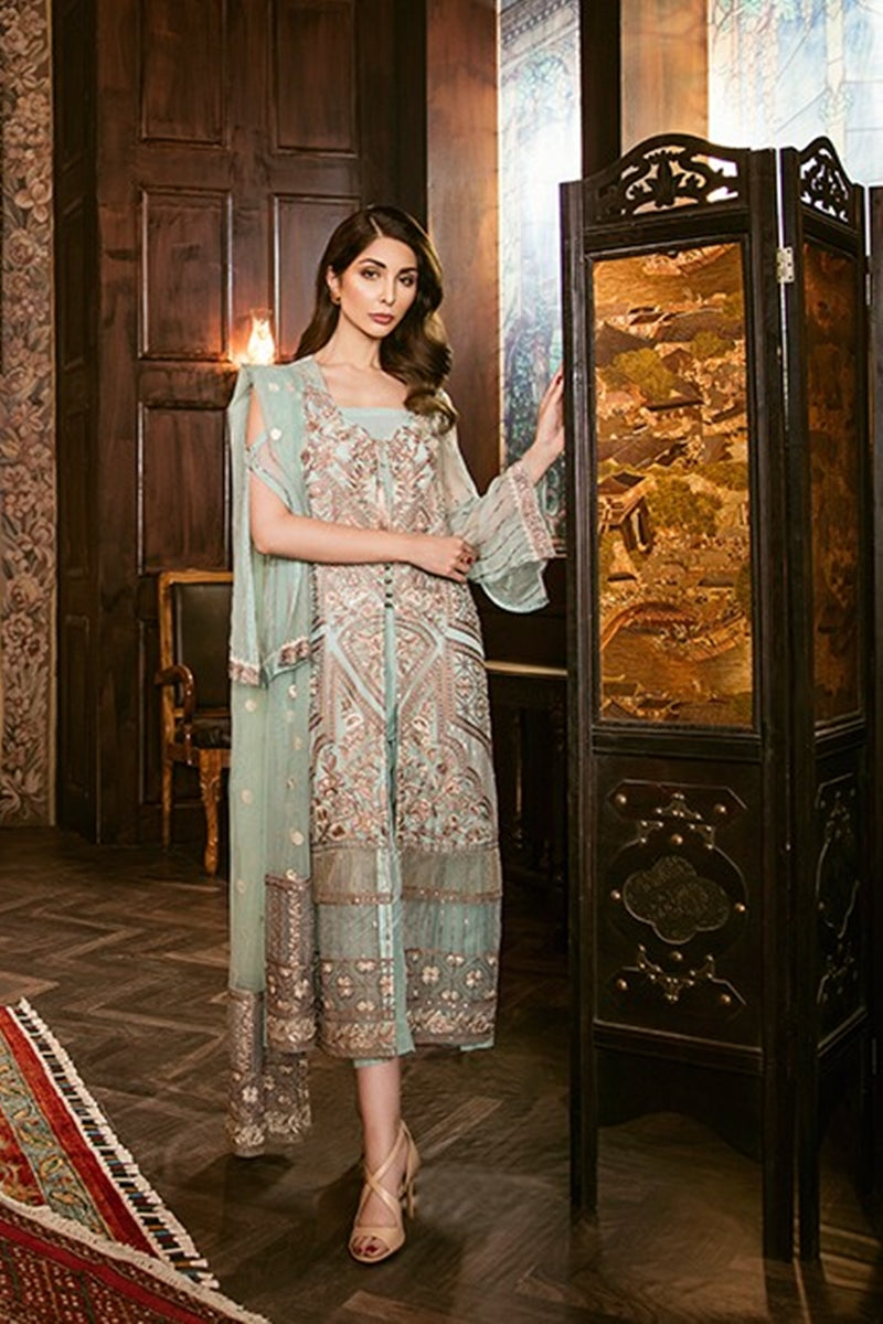 Iznik Pastel Turquoise (IZK 06) Unstitched Chiffon Collection Embroidered Two Piece Shirt & Duppata