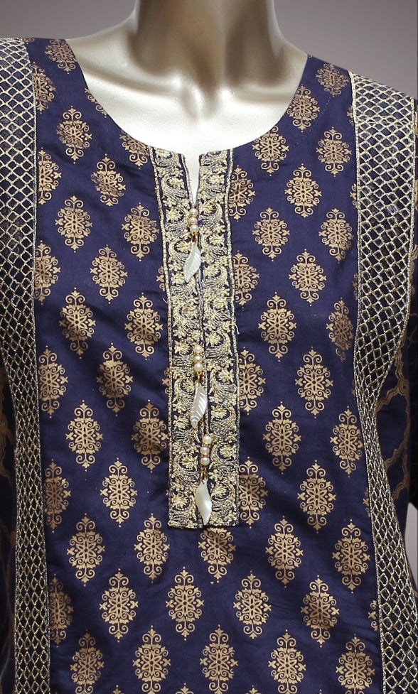 FCC-001 Blue Lawn Embroiderd Stitched Shirt