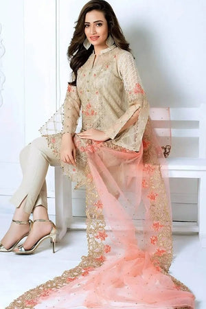 Gul Ahmed GA-21 Unstitched Net Collection Embroidered Three Piece