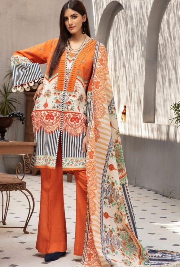 Gul Ahmed Design#12 Printed Airjet Lawn 3 pc