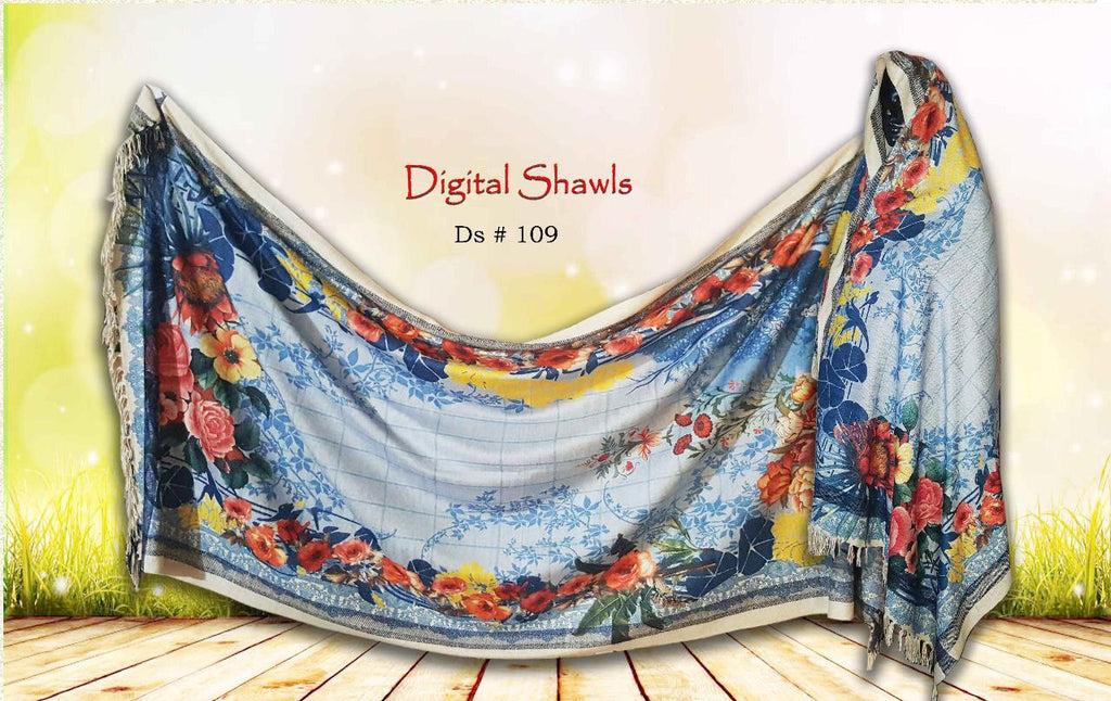 FCC  D-109 Digital Printed Chine Velvet Shawl Winter Collection