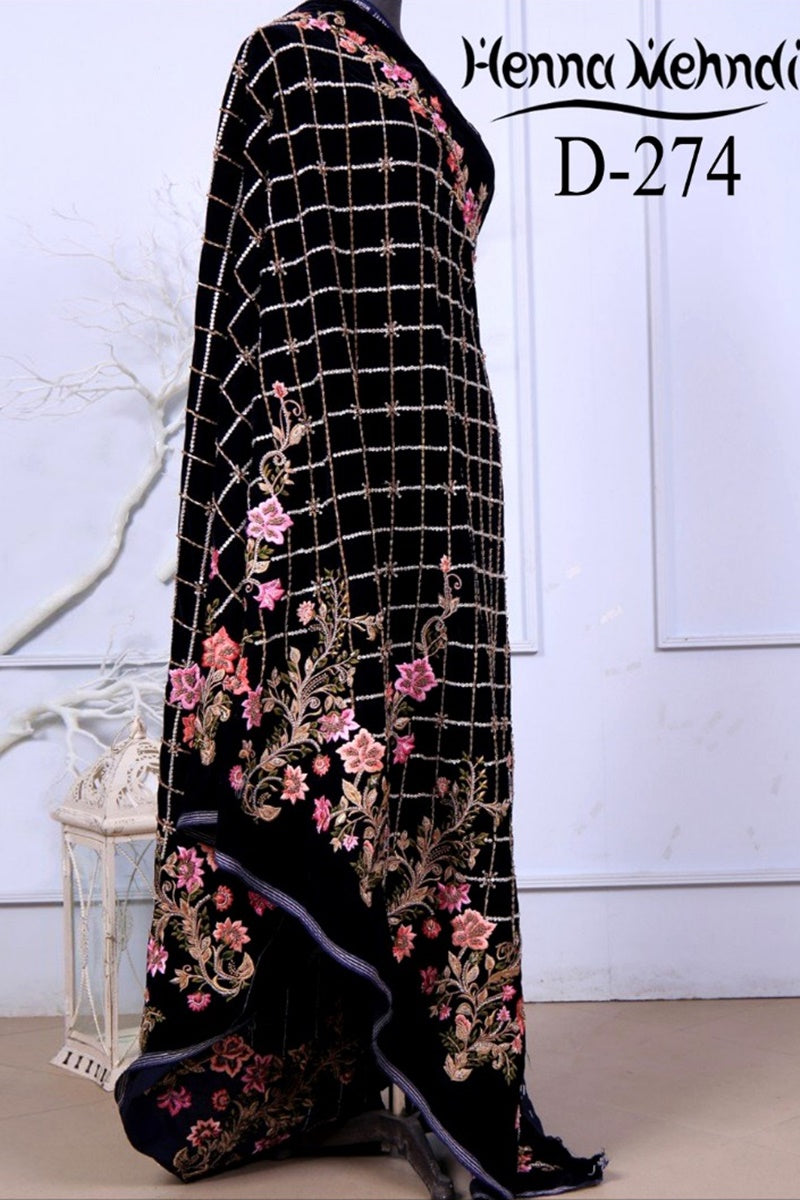 Maria B MBS-05 Embroidered Velvet Shawl Winter Collection