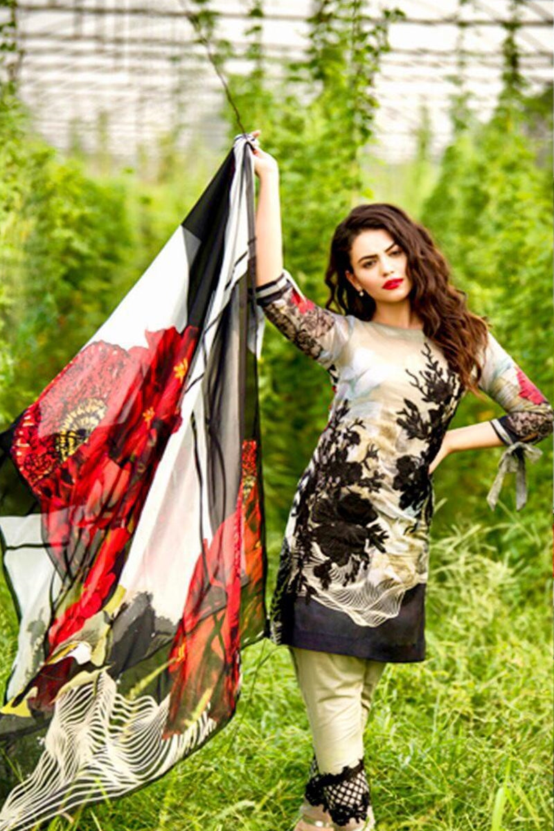 Asifa Nabeel Black Rose Embroidered Three Piece Lawn Collection