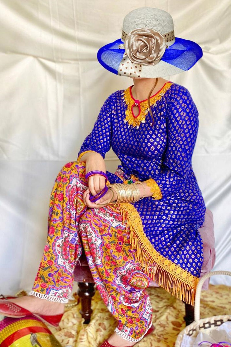 Gul ahmed GA-10 Blue Embroidered Linen two piece Winter Collection