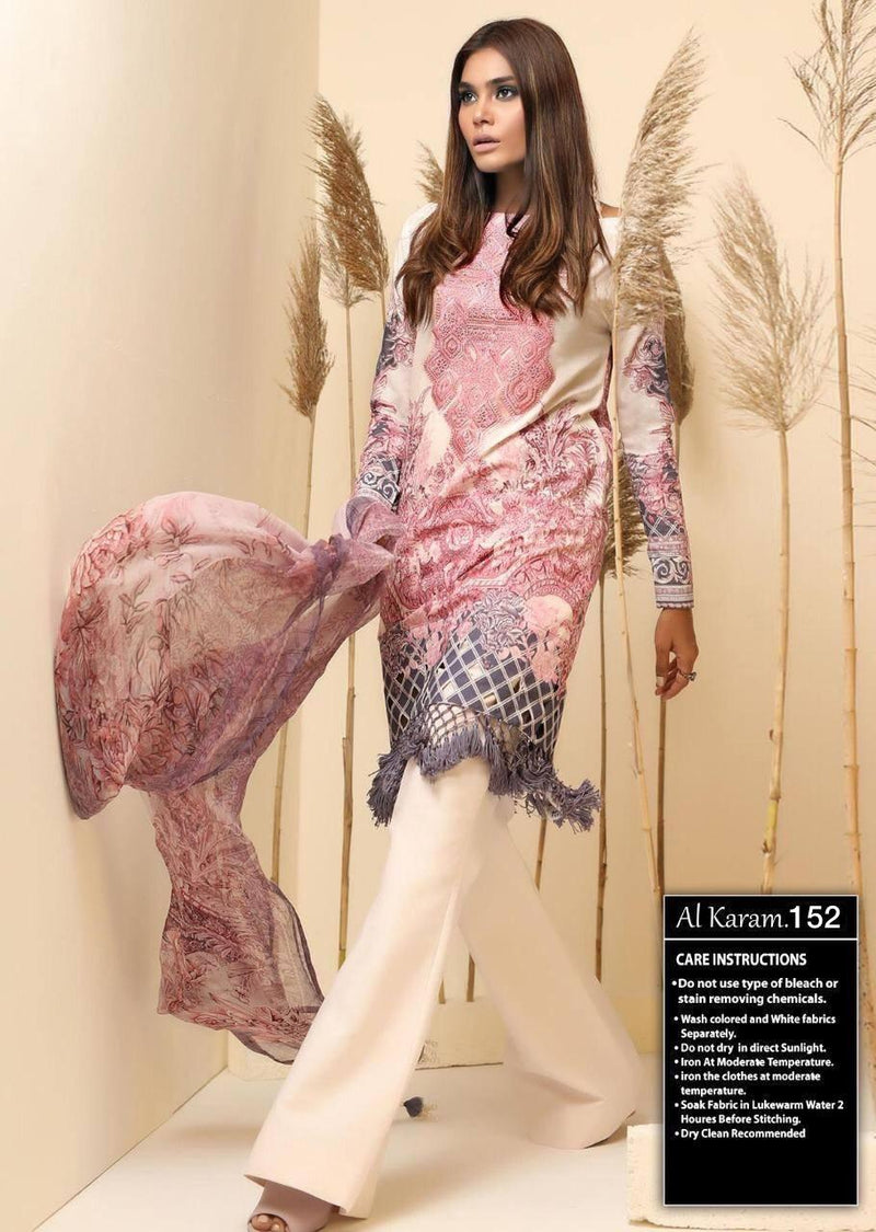 AL-Karam AKL-152 pink Linen three piece suit with Woolen duppata