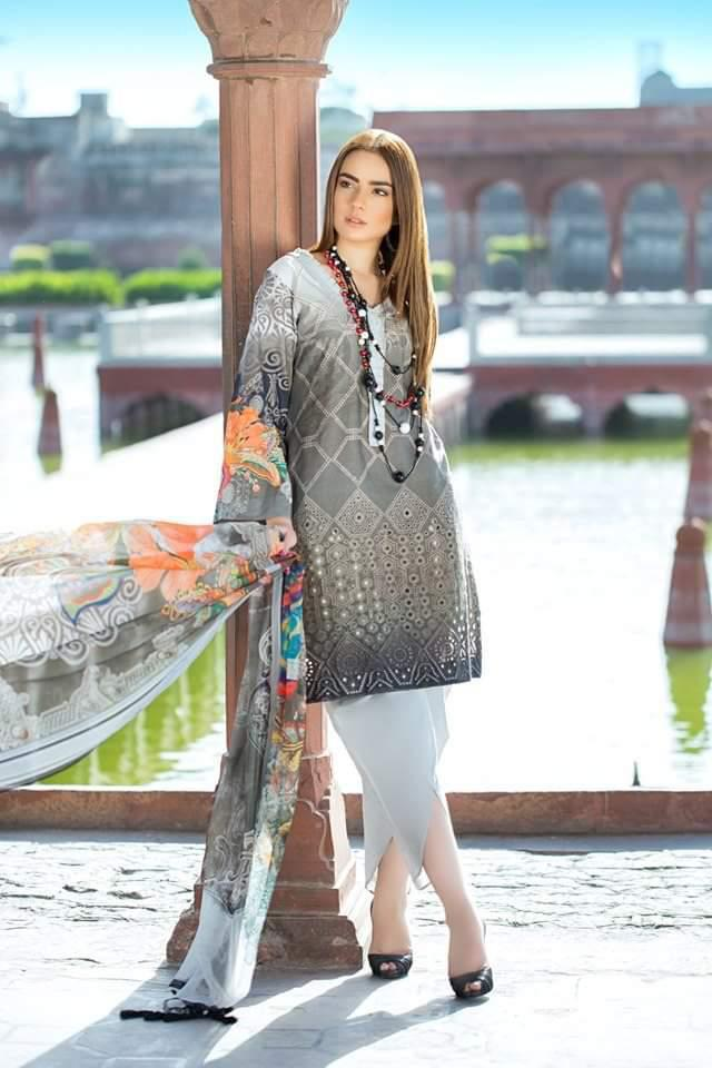 Bin Ilyas BI-01 Grey ChikenKari Embroidered Three Piece Lawn Collection