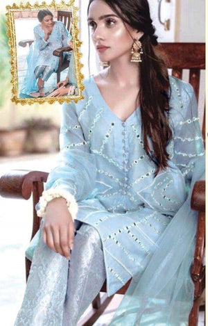 Agha Noor AGN-S01 Blue Unstitched Organza Collection Embroidered Three Piece