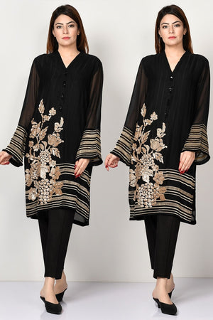 Limelight LT-5089 Black Lawn Embroidered Two piece