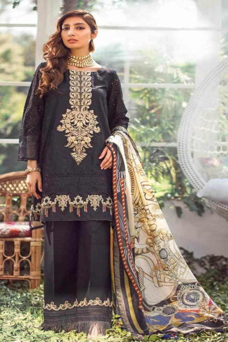 Elaf EL-03 Black ChikenKari Embroidered Three Piece Lawn Collection