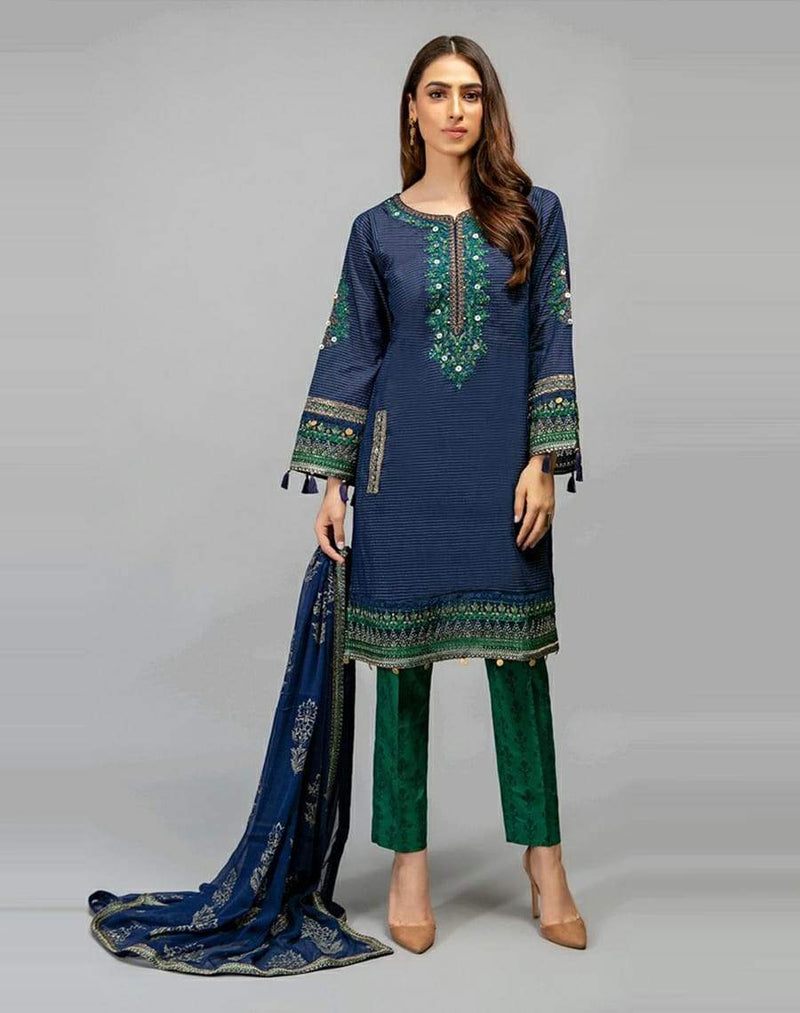 Bareeze BR 302 Embroidered Three Piece Linen Collection